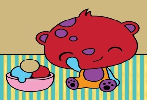 Neapolitan — Intended colors: Brown head, green body, pink feet/stomach Colors used: Red head, orange body, purple feet/stomach