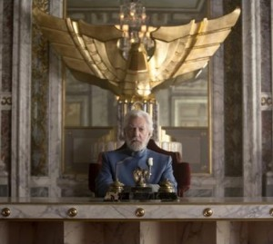 President Snow (Donald Sutherland) prepares to give an address to Panem's rebelling citizens from his office in the Capitol.