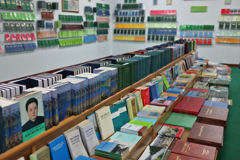 A North Korean bookstore, with the works of two authors available - Kim Il-Sung and Kim Jong-Il.