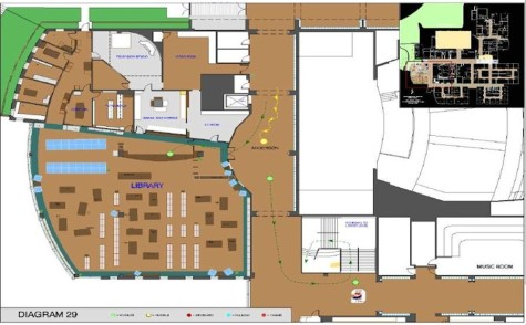 A diagram of Columbine High School's library.